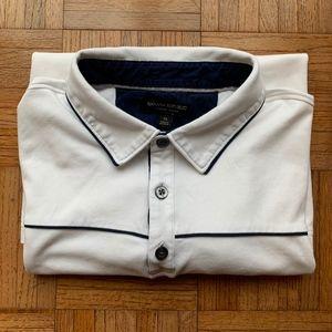 Banana Republic White Navy Stripe Polo Shirt, XL